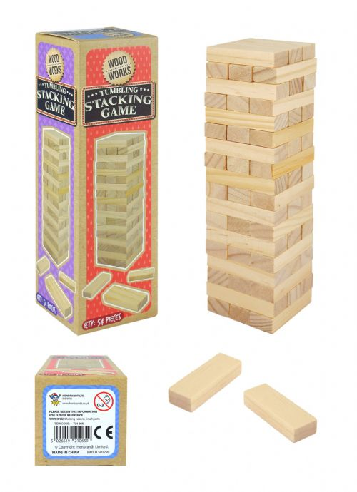 Classic Wooden Stacking Blocks Game Great Family Xmas Game 54 Pieces